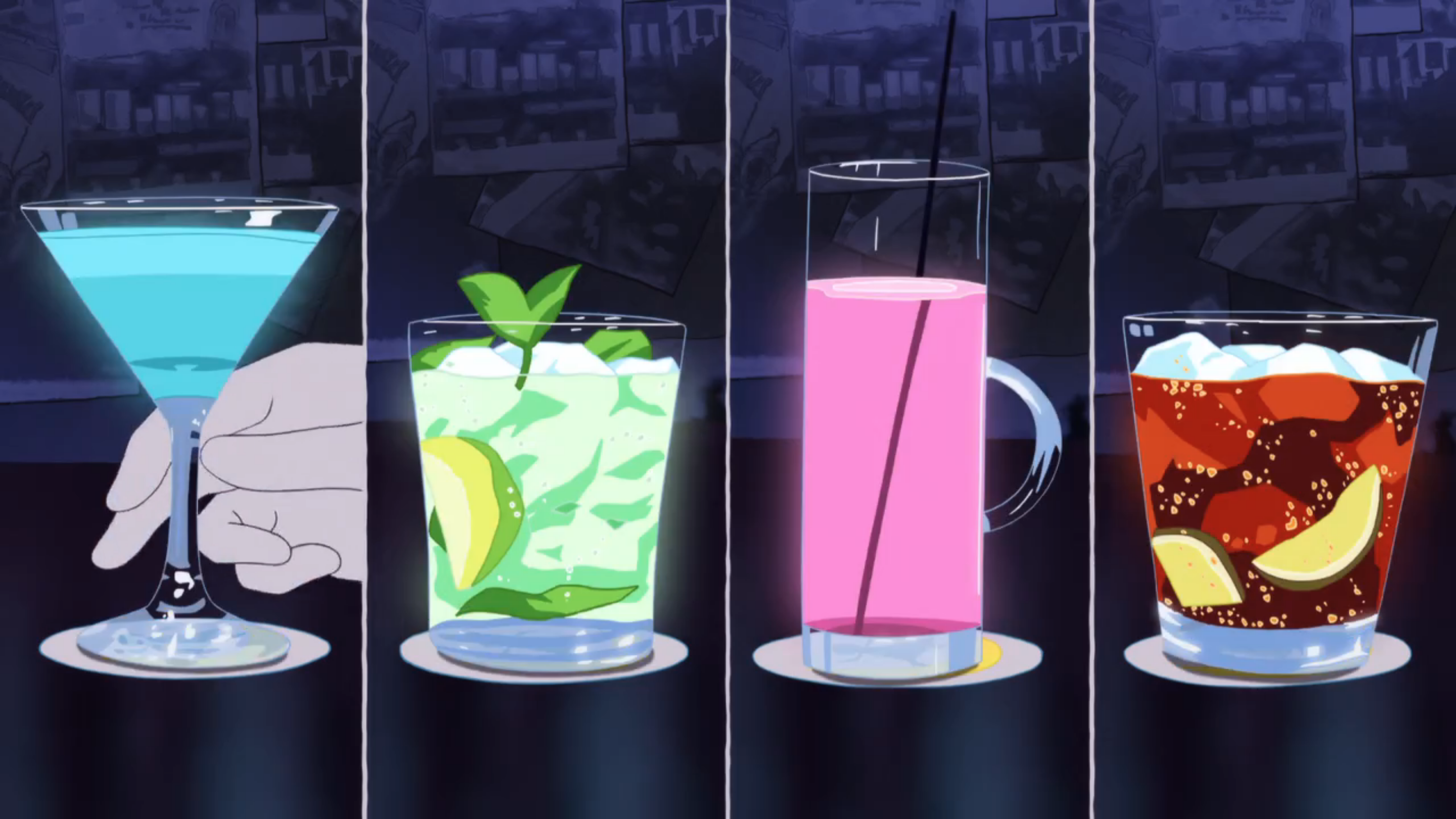 short night anime drink walk food cocktails edition days colorful